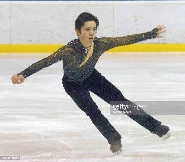 Japan's Shoma Uno performs his free program at the Coupe du Printemps figure skating competition in Luxembourg on March 12 2017 Uno won the gold...