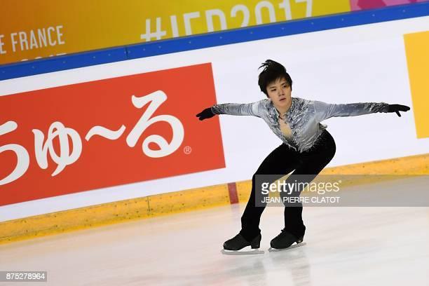 Japan's Shoma Uno trains before the ISU Grand Prix of Figure Skating in Grenoble eastern France on November 17 2017 / AFP PHOTO / JEANPIERRE CLATOT