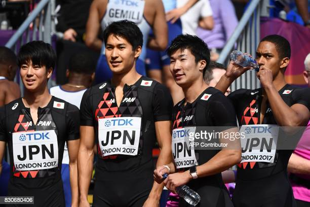 Japan's Shuhei Tada Japan's Shota Iizuka Japan's Yoshihide Kiryu and Japan's Aska Cambridge finish the men's 4x100m relay athletics event at the 2017...