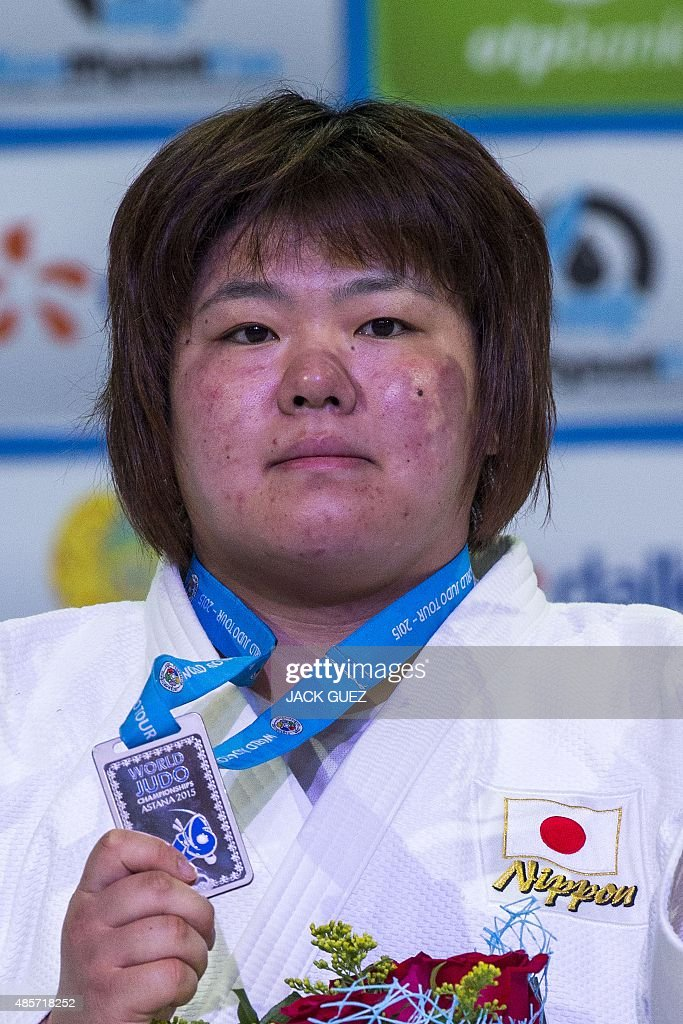 Japans silver medallist <a gi-track='captionPersonalityLinkClicked' href=/galleries/search?phrase=Megumi+Tachimoto&family=editorial&specificpeople=5645971 ng-click='$event.stopPropagation()'>Megumi Tachimoto</a> poses with her medal following the womens +78kg category competition at the Judo World Championships in Astana on August 29, 2015.