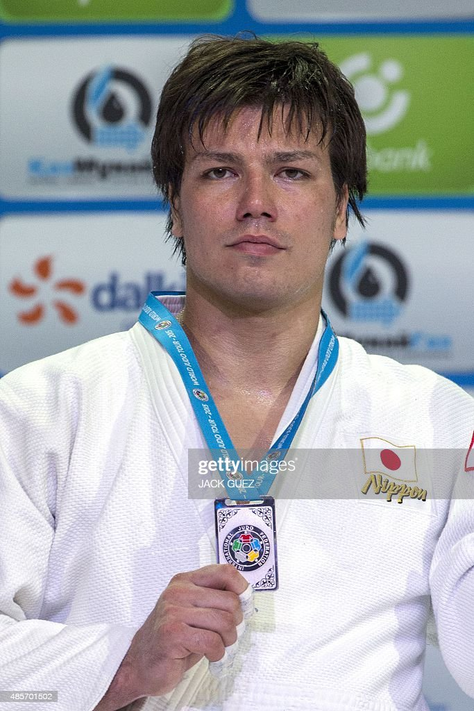 Japans silver medallist <a gi-track='captionPersonalityLinkClicked' href=/galleries/search?phrase=Ryu+Shichinohe&family=editorial&specificpeople=9207686 ng-click='$event.stopPropagation()'>Ryu Shichinohe</a> poses with his medal following the mens +100kg category competition at the Judo World Championships in Astana on August 29, 2015.