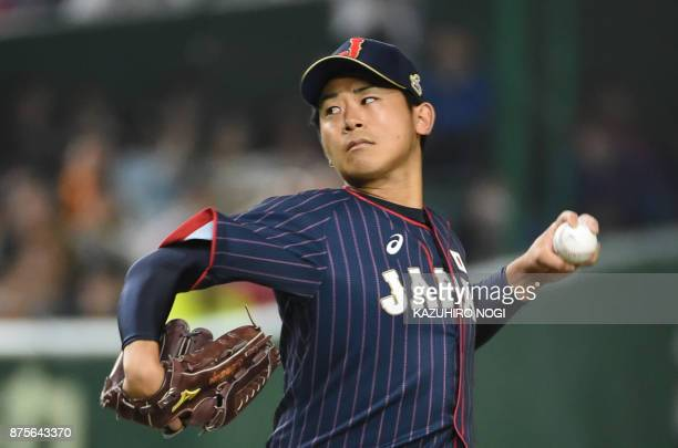 Japan's starting pitcher Shota Imanaga pitches against Taiwan in the first inning during the Asia Professional Baseball Championships preliminary...