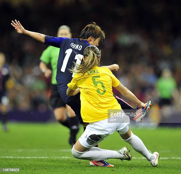 Japan's striker Shinobu Ohno fights for the ball with Brazil's Erika during the London 2012 Olympic Games women's quarterfinal football match between...