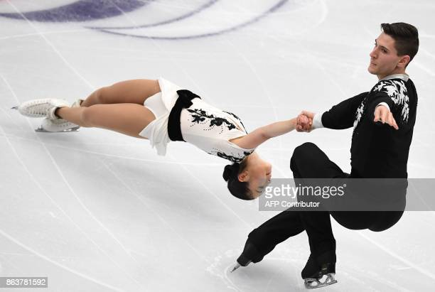 Japan's Sumire Suto and Francis BoudreauAudet compete in the Pairs short program at the ISU Grand Prix Rostelecom Cup in Moscow on October 20 2017 /...