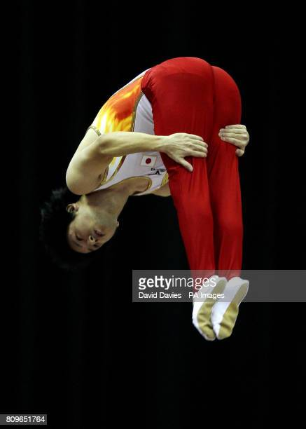 Japan's Takashi Sakamoto during the Trampoline and Tumbling World Championships at the National Indoor Arena Birmingham