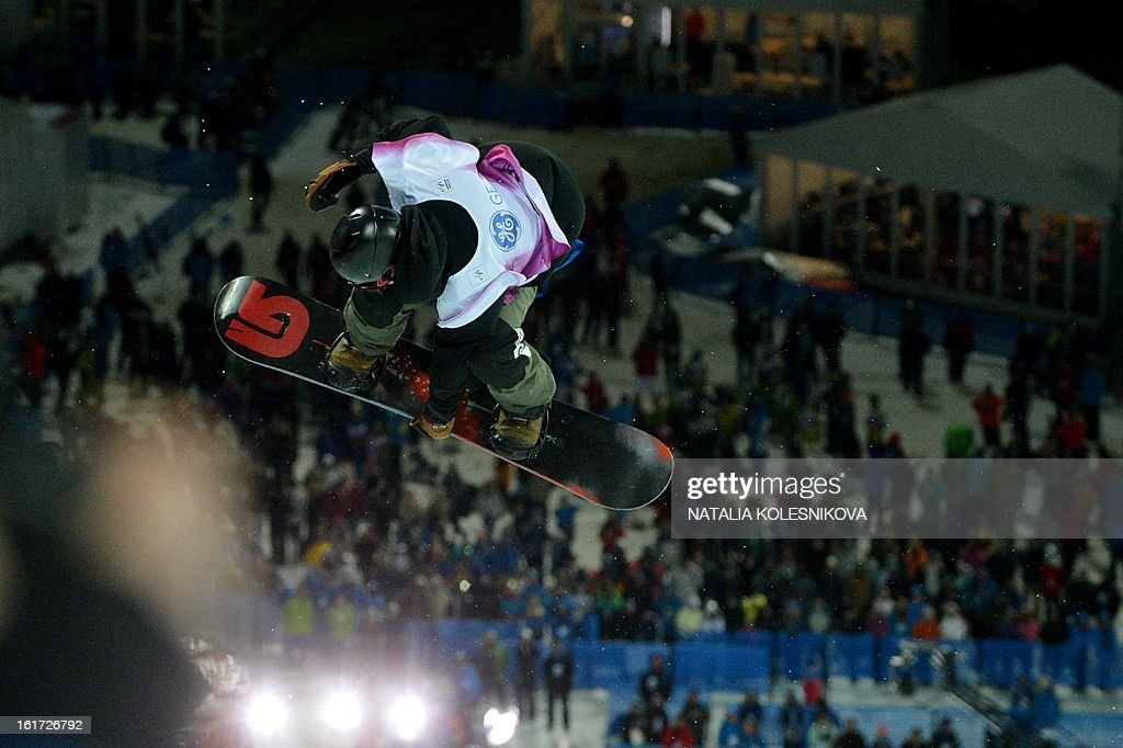 Japan's Taku Hiraoka competes at the Snowboard World Cup Men's Final Halfpipe Test Event at the Snowboard and Freestyle Center in Rosa Khutor near the Black Sea resort of Sochi, on February 14, 2013. Hiraoka won the competition.