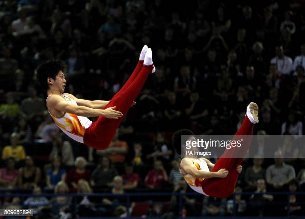 Japan's team of Takashi Sakamoto and Yasuhiro Ueyama during the men's synchronized trampoline final on their way to a silver medal during the...