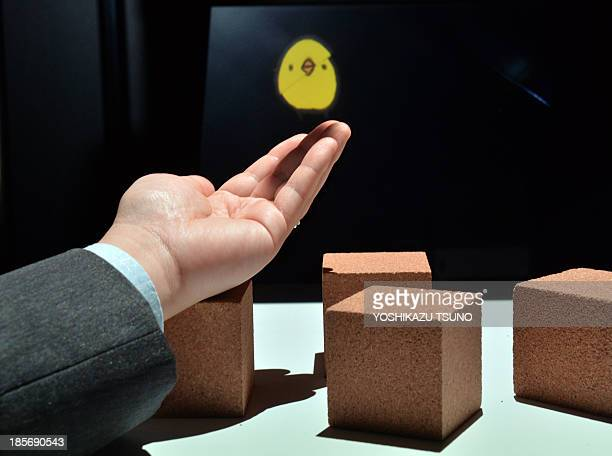 Japan's Tokyo University professor Takeshi Naemura displays a virtual chick shaped character 'hopping' on his hand and blocks at the annual Digital...