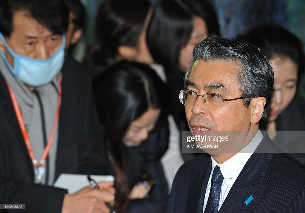 Japan's top nuclear envoy Sugiyama Shinsuke speaks during a press conference in Seoul January 17, 2013. Japan's top nuclear envoy urged the UN Security Council to act 'sooner rather than later' in punishing North Korea for its long-range rocket launch in December. AFP PHOTO / KIM JAE-HWAN