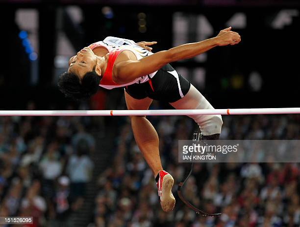 Japan's Toru Suzuki competes in the men's high jump F46 final during the London 2012 Paralympic Games at the Olympic Stadium in London on September 8...