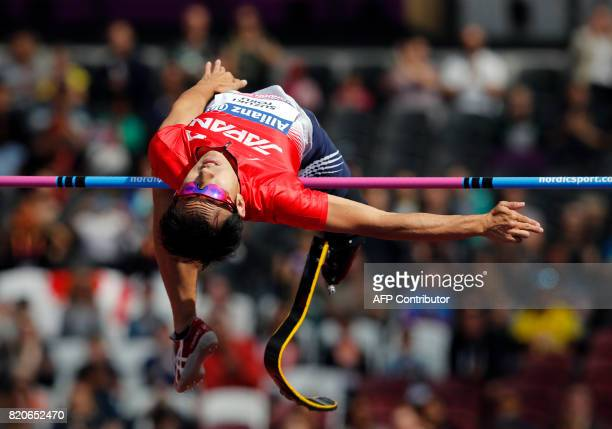 Japan's Toru Suzuki competes in the Men's High Jump T44 Final during the World Para Athletics Championships in London on July 22 2017 / AFP PHOTO /...
