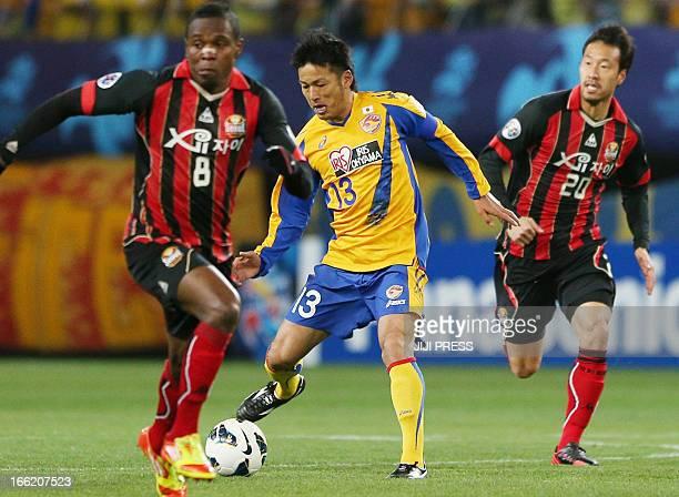 Japan's Vegalta Sendai forward Atsushi Yanagisawa controls the ball against South Korea's FC Seoul during their AFC Champions League group E football...