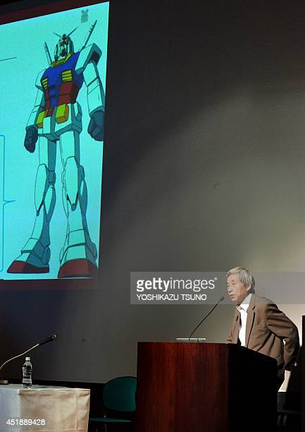 Japan's Waseda University professor Syuji Hashimoto announces the Gundam Global Challenge project in Tokyo on July 9 2014 Japanese animators and...