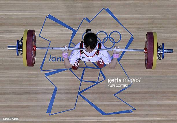 Japan's Yagi Kanae competes during the weightlifting women's 53kg group B at the Excel Center in London during the 2012 London Olympic Games on July...