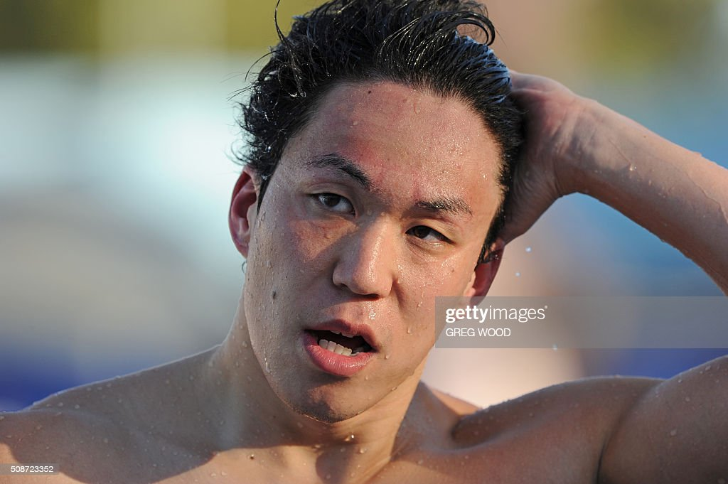 Japan's Yasuhiro Koseki leaves the pool after winning the men's 100m breaststroke event at the final day of the Aquatic Super Series swimming event in Perth on February 6, 2016. AFP PHOTO / Greg WOOD WOOD