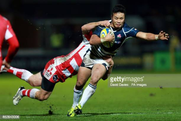 Japan's Yasuki Hayashi is tackled by Gloucester's Mike Tindall during an International Friendly at Kingsholm Stadium Gloucester