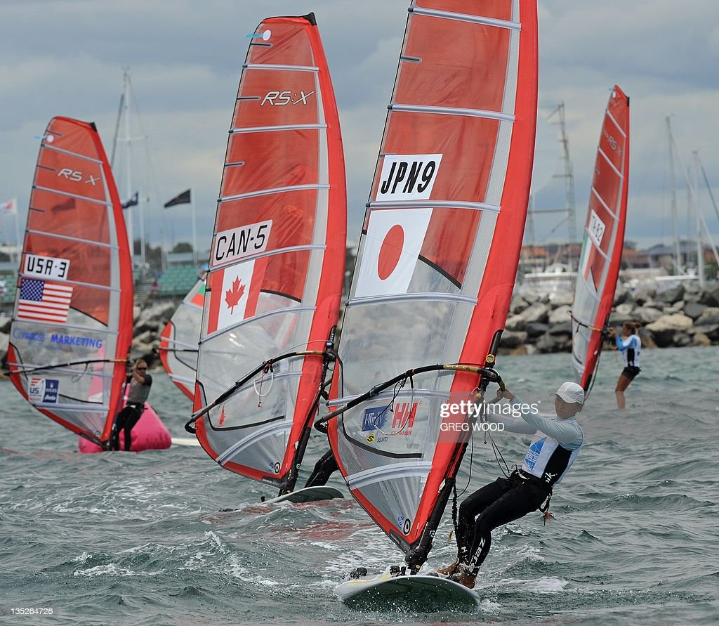 Japan's Yasuko Kosuge (2nd-R) competes during the first Silver Fleet race in the