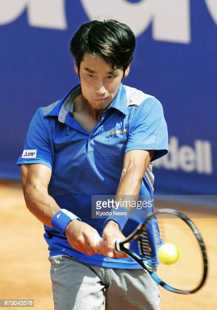 Japan's Yuichi Sugita hits a backhand in his secondround match against Richard Gasquet of France at the Barcelona Open on April 25 2017 Sugita won 46...