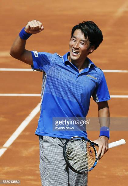 Japan's Yuichi Sugita pumps his fist after defeating Richard Gasquet of France in the second round of the Barcelona Open on April 25 2017 Sugita won...