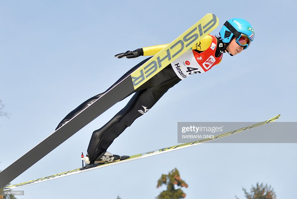 Japan's Yuka Seto jumps during the qualifying round of the women's ski jumping world cup in Hinzenbach, Upper Austria on February 6, 2016. / AFP / APA / BARBARA GINDL / Austria OUT