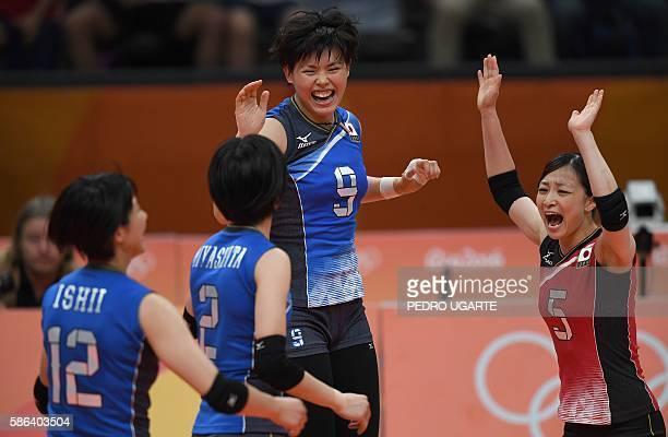 Japan's Yuki Ishii Japan's Haruka Miyashita Japan's Haruyo Shimamura and Japan's Arisa Sato celebrates winning a point during the women's qualifying...