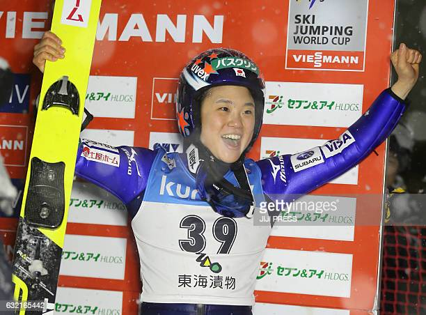 Japan's Yuki Ito celebrates her win following the women's skijumping World Cup Zao meet in Yamagata prefecture on January 20 2017 / AFP / JIJI PRESS...