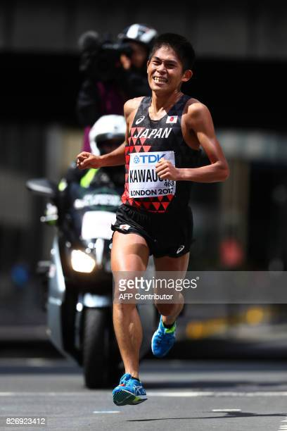 Japan's Yuki Kawauchi competes in the men's marathon athletics event at the 2017 IAAF World Championships in central London on August 6 2017 / AFP...