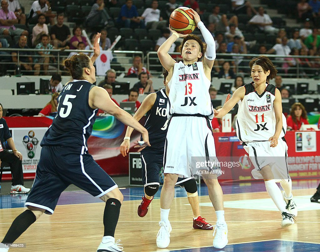 Japan's Yuko Oga vies with South Korea's JungJa Sin during their 2012 women's FIBA Olympic Qualifying Tournament match in Ankara on June 30 2012 AFP...