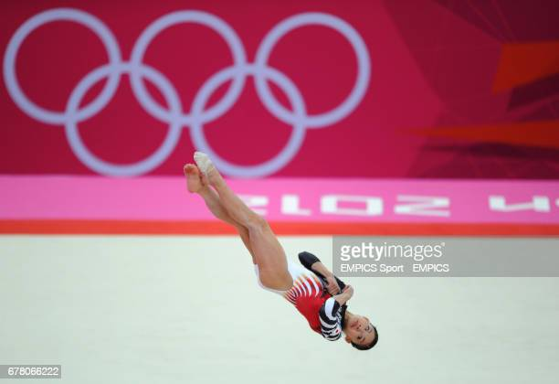 Japan's Yuko Shintake competes on the floor during the Artistic Gymnastics Women's team final at the North Greenwich Arena London during day four of...