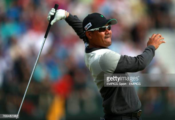 Japan's Yusaku Miyazato tees off the 4th during day two of the 2014 Open Championship at Royal Liverpool Golf Club Hoylake