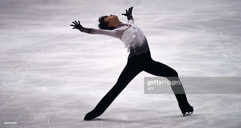 Japan's Yuzuru Hanyu performs during the men's free program of the figure skating Finlandia Trophy event in Espoo, Finland on October 6, 2013.