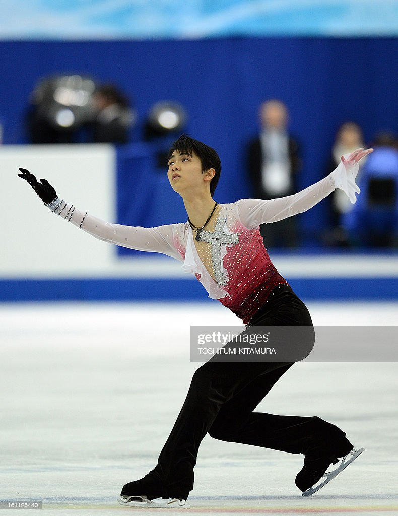 Japan's Yuzuru Hanyu performs during the men's free skating event during the Four Continents figure skating championships in Osaka on February 9, 2013. AFP PHOTO / TOSHIFUMI KITAMURA