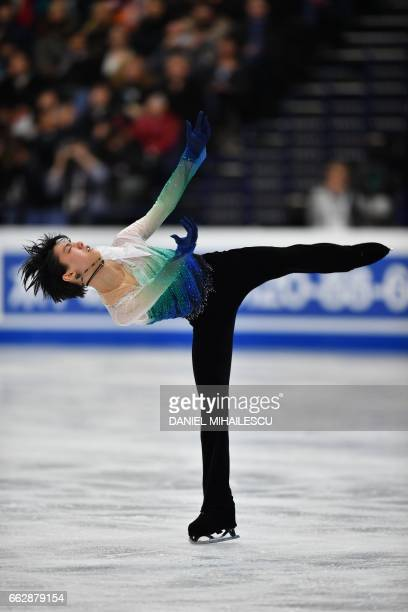TOPSHOT Japan's Yuzuru Hanyu performs during the men's free skating program at the ISU World Figure Skating Championships 2017 in Helsinki on April 1...