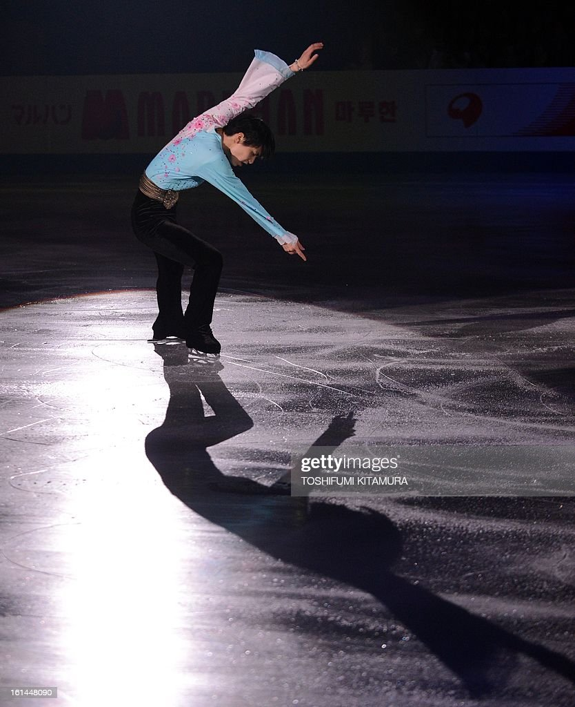 Japan's Yuzuru Hanyu performs his men's routine in the gala exhibition event after the Four Continents figure skating championships in Osaka on February 11, 2013.
