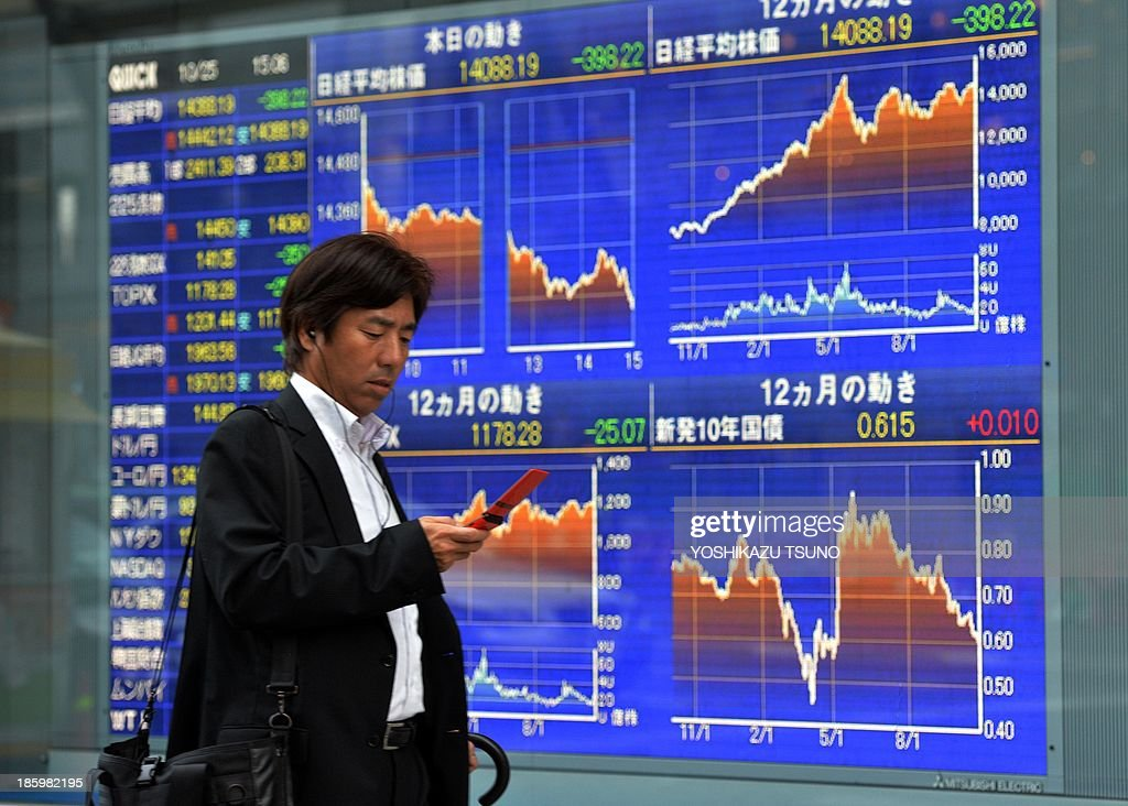 Japan-stocks-economy,FOCUS by Shingo ITO This picture taken on October 25, 2013 shows a man checking his mobile phone before a share prices board in Tokyo. A resurgent Japanese stock market has seen a big boom in shares of the country's corporate titans, but now rich returns are waiting in small firms virtually unknown overseas, according to analysts. AFP PHOTO / Yoshikazu TSUNO