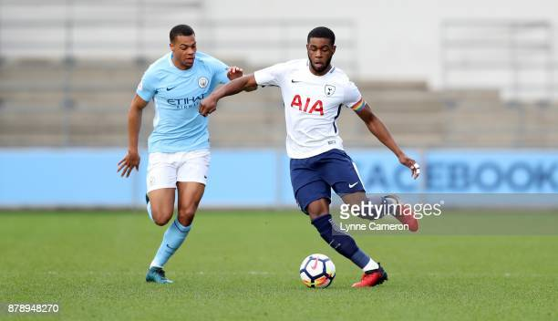 Japhet Tanganga of Tottenham Hotspur and Lucas Nmecha of Manchester City during the Premier League 2 match at The Academy Stadium on November 25 2017...