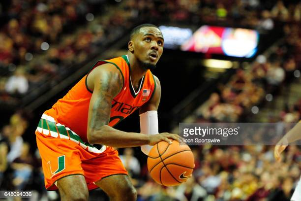 Ja'Quan Newton guard Miami Hurricanes attempts a free throw against the Florida State Seminoles in an Atlantic Coast Conference game Saturday March 4...