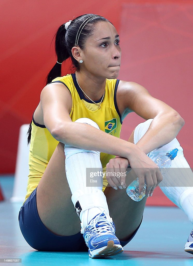 Jaqueline Carvalho #8 of Brazil sits on the court after the loss to Korea during Women's Volleyball on Day 5 of the London 2012 Olympic Games at Earls Court on August 1, 2012 in London, England.