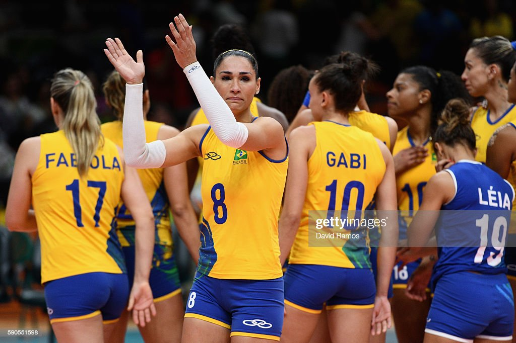 Jaqueline de Carvalho Endres of Brazil acknowledges the fans after being defeated by China during the Women's Quarterfinal match between China and...