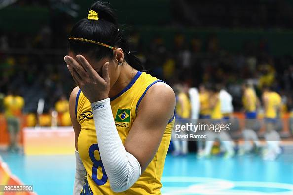 Jaqueline de Carvalho Endres of Brazil cries after being defeated by China during the Women's Quarterfinal match between China and Brazil on day 11...