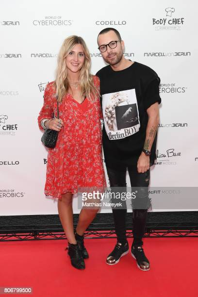 Jaqueline Mikuta and designer Marcell von Berlin are during the Marcell von Berlin 'Genesis' collection presentation on July 3 2017 in Berlin Germany