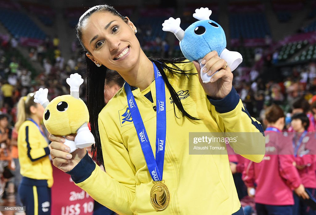 Jaqueline Prerira De Carvalho of Brazil poses for photo with gold medal during the FIVB World Grand Prix Final group one match between Brazil and Japan on August 24, 2014 in Tokyo, Japan.