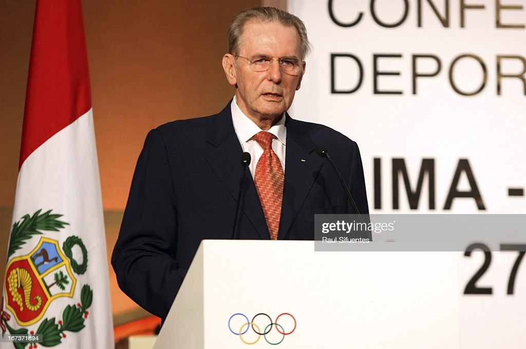 Jaques Rogge, IOC President, delivers a speech during the Opening Session of the First Day of the 15th IOC World Conference Sports For All at the Auditorim of the Daniel Alcides Convention Centre on April 24, 2013 in Lima, Peru.