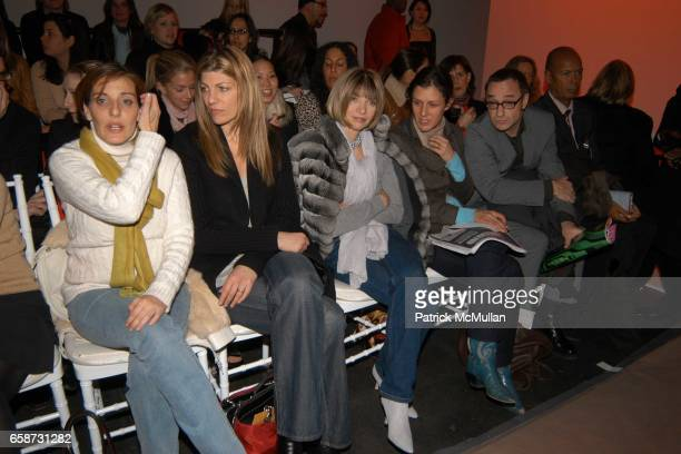 Jaqui Lividini Virginia Smith Anna Wintour Sally Singer Guest and Michael Roberts attend the front row at Diane von Furstenberg Fashion Show at DVF...