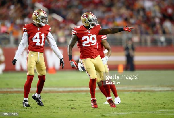 Jaquiski Tartt celebrates with Ahkello Witherspoon of the San Francisco 49ers after Tartt sacked Paxton Lynch of the Denver Broncos at Levi's Stadium...