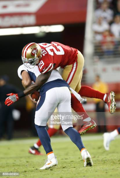 Jaquiski Tartt of the San Francisco 49ers sacks Paxton Lynch of the Denver Broncos during the game at Levi Stadium on August 19 2017 in Santa Clara...