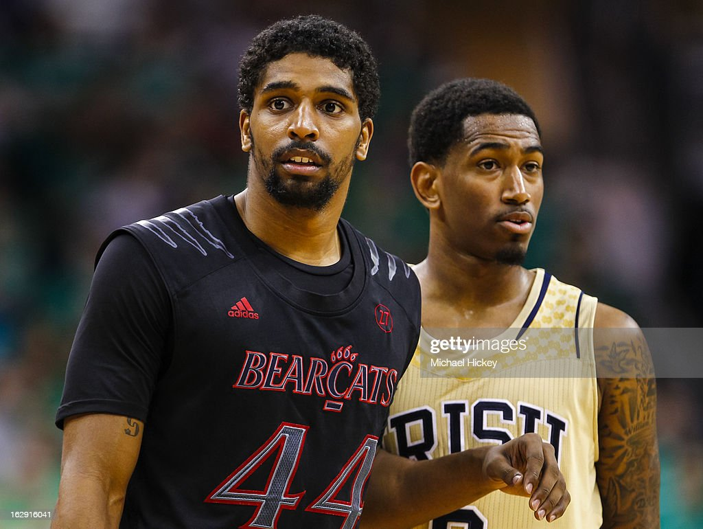JaQuon Parker #44 of the Cincinnati Bearcats and <a gi-track='captionPersonalityLinkClicked' href=/galleries/search?phrase=Eric+Atkins&family=editorial&specificpeople=7379862 ng-click='$event.stopPropagation()'>Eric Atkins</a> #0 of the Notre Dame Fighting Irish seen during the game at Purcel Pavilion on February 24, 2013 in South Bend, Indiana. Notre Dame defeated Cincinnati 62-41.