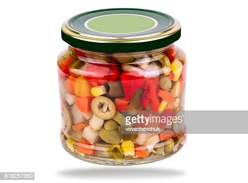 jar of canned vegetables : Foto de stock
