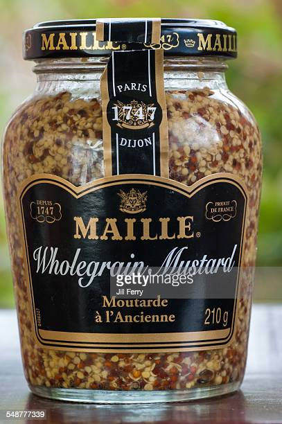 A jar of French Maille wholegrain Dijon mustard