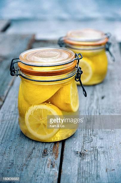 Jar of lemons in juice